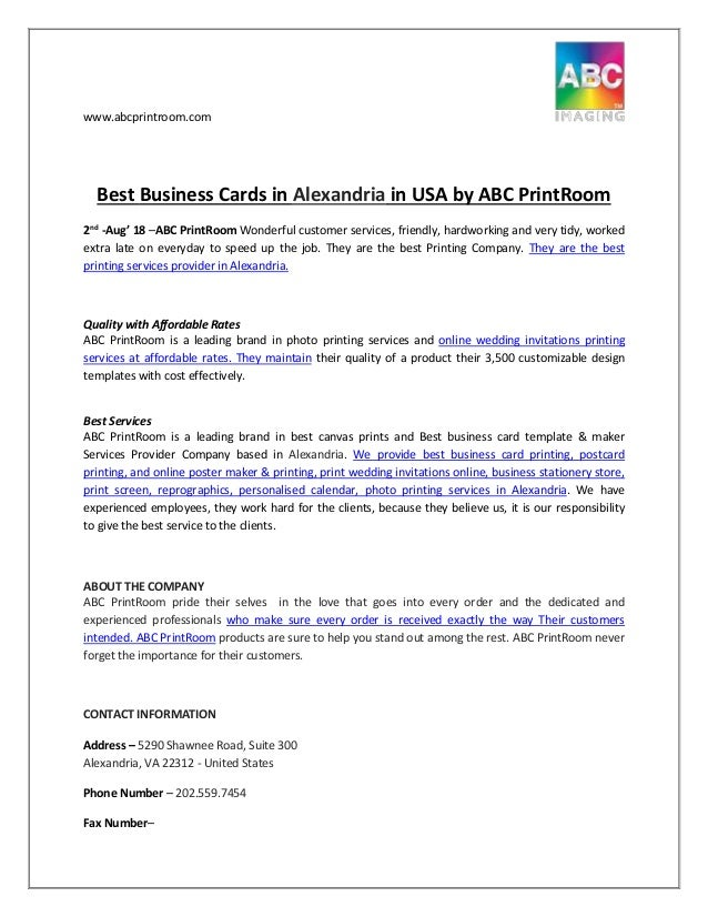 Best Business Cards in Alexandria in USA by ABC PrintRoom