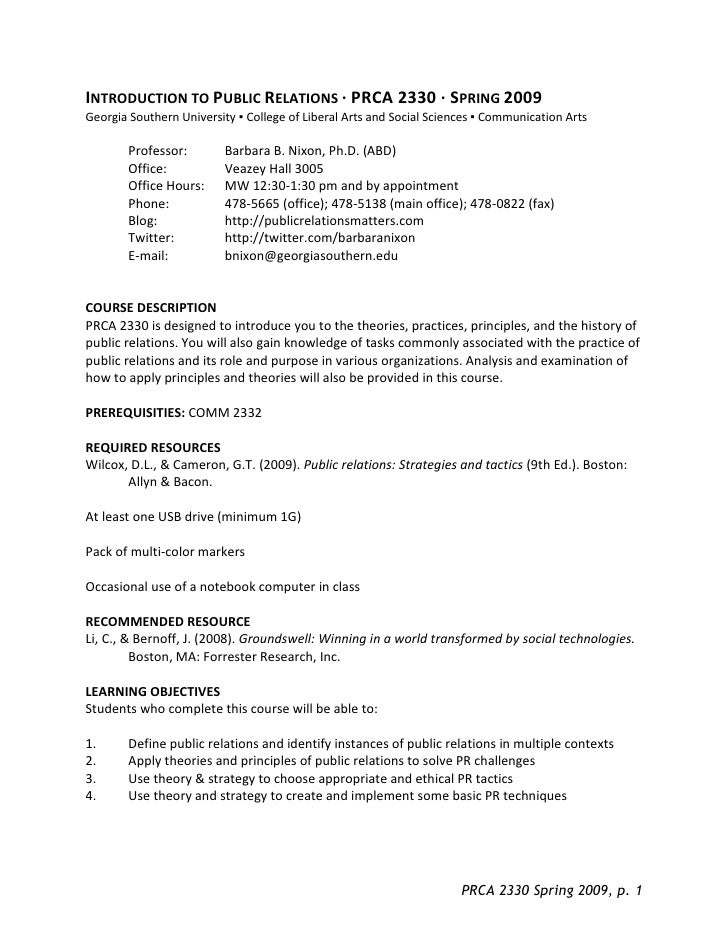 INTRODUCTION TO PUBLIC RELATIONS · PRCA 2330 · SPRING 2009 Georgia Southern University ▪ College of Liberal Arts and Socia...