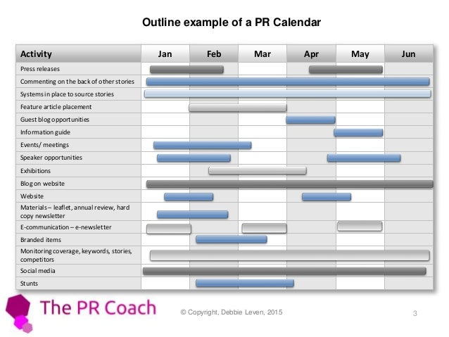 How To Create A PR Calendar - Public relations calendar template
