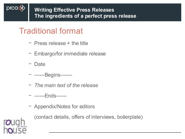 Prca writing effective press releases perfect press release 8 traditional format altavistaventures Images