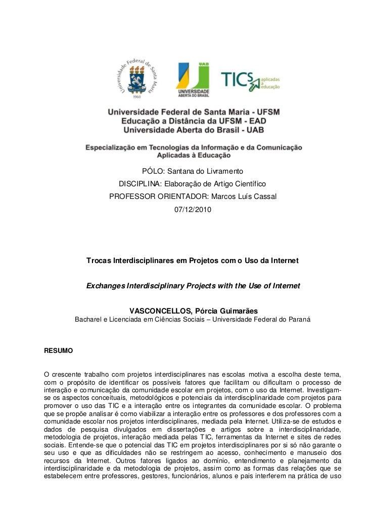 PÓLO: Santana do Livramento                        DISCIPLINA: Elaboração de Artigo Científico                     PROFESS...