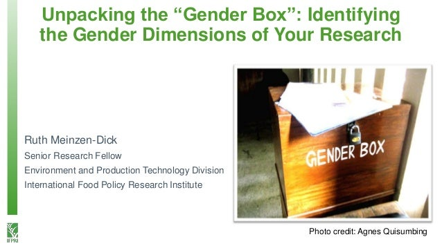 "Unpacking the ""Gender Box"": Identifying the Gender Dimensions of Your Research Photo credit: Agnes Quisumbing Ruth Meinzen..."