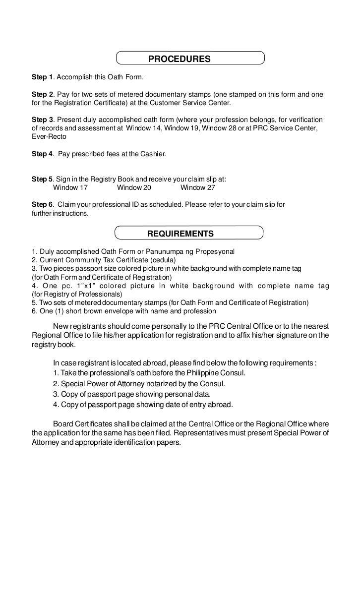 Prc Oath Form