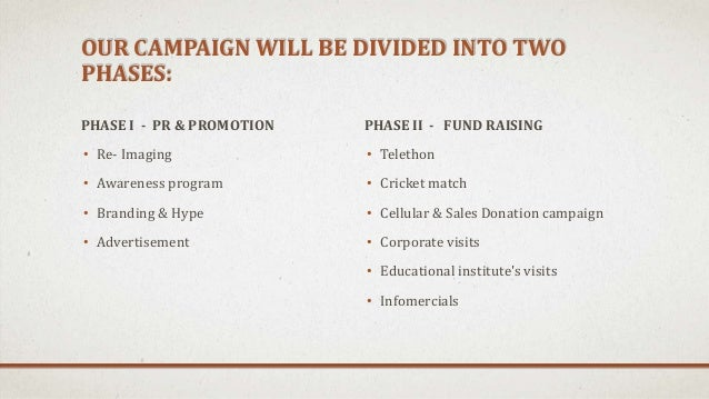 OUR CAMPAIGN WILL BE DIVIDED INTO TWO PHASES: PHASE I - PR & PROMOTION • Re- Imaging • Awareness program • Branding & Hype...