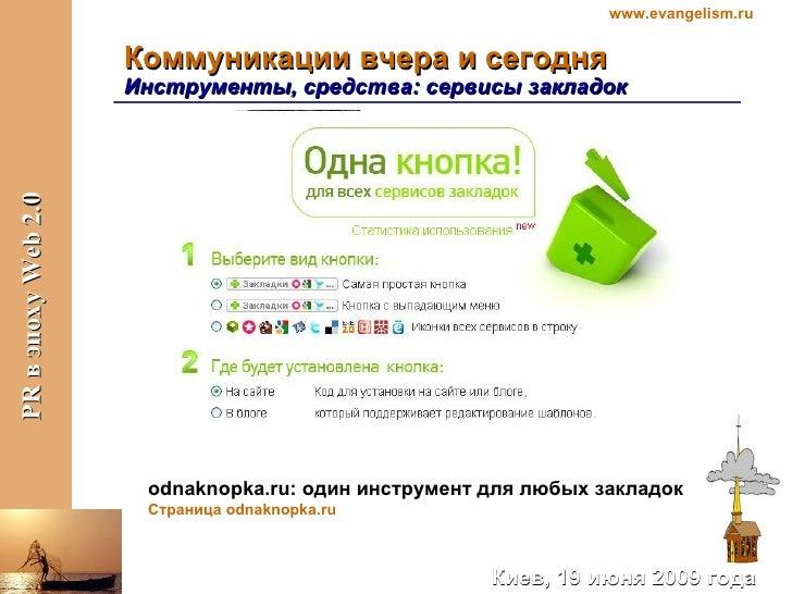 Коммуникации вчера и сегодня Инструменты, средства:   сервисы закладок  odnaknopka.ru : один инструмент для любых закладок...
