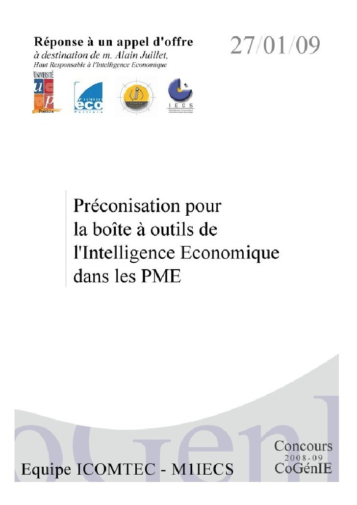 Préconisation pour la boite à outils de l'intelligence économique dans les pme