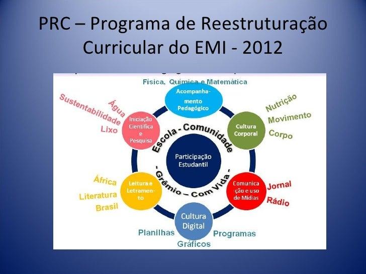 PRC – Programa de Reestruturação     Curricular do EMI - 2012