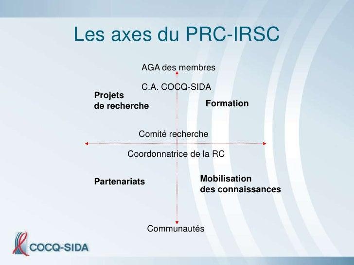 Les axes du PRC-IRSC             AGA des membres              C.A. COCQ-SIDA  Projets  de recherche                 Format...