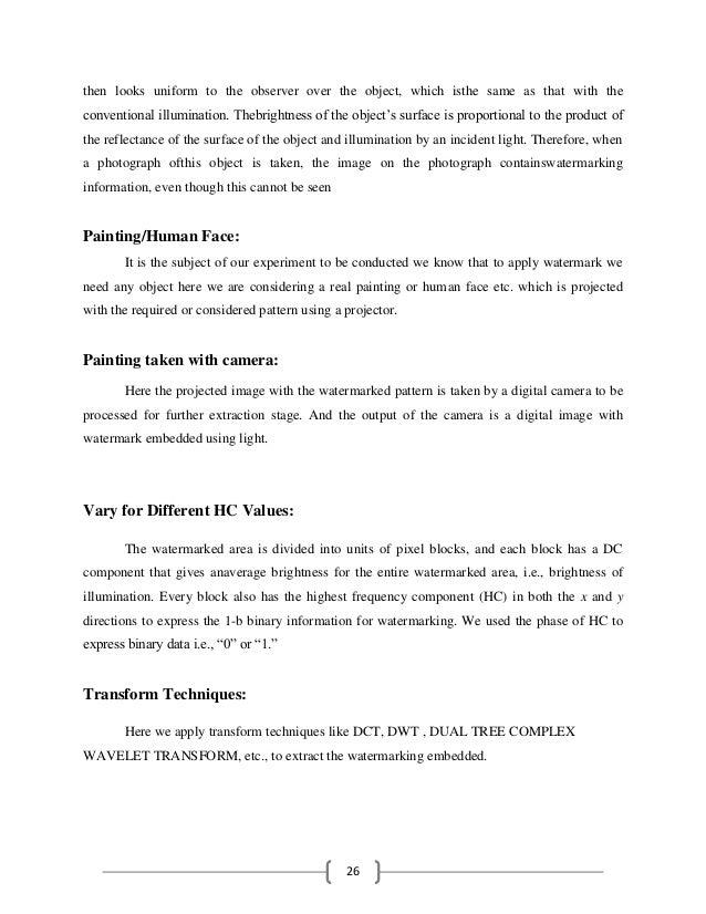 Optical Watermarking Literature Survey