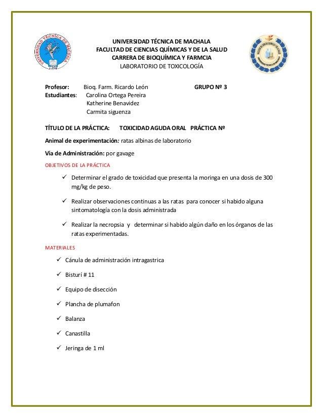 UNIVERSIDAD TÉCNICA DE MACHALA FACULTAD DE CIENCIAS QUÍMICAS Y DE LA SALUD CARRERA DE BIOQUÍMICA Y FARMCIA LABORATORIO DE ...