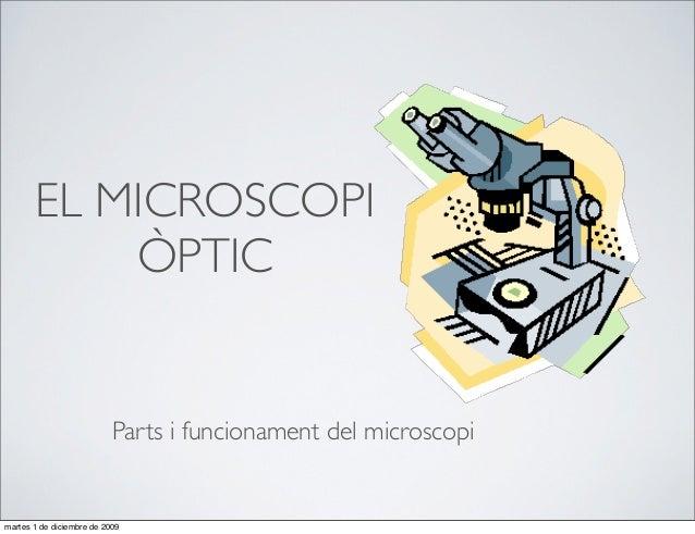 EL MICROSCOPI           ÒPTIC                           Parts i funcionament del microscopimartes 1 de diciembre de 2009