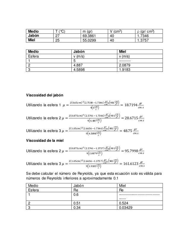 Medio T (°C) m (gr) V (cm3) ρ (gr/ cm3) Jabón 27 69.3861 40 1.7346 Miel 25 55.0299 40 1.3757 Medio Jabón Miel Esfera v (m/...