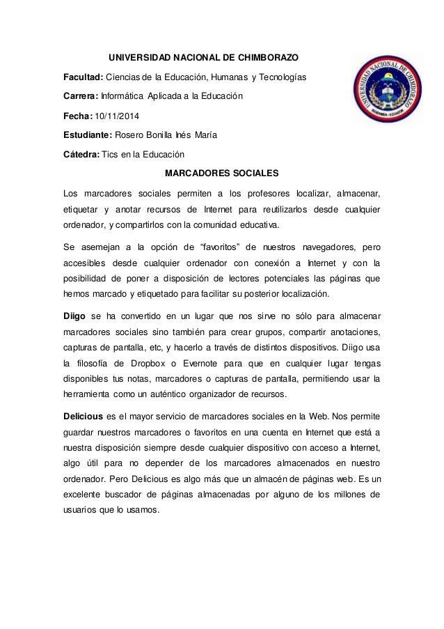 UNIVERSIDAD NACIONAL DE CHIMBORAZO Facultad: Ciencias de la Educación, Humanas y Tecnologías Carrera: Informática Aplicada...
