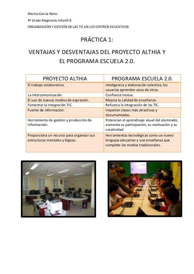 Marina García Nieto 4º Grado Magisterio Infantil B ORGANIZACIÓN Y GESTIÓN DE LAS TIC EN LOS CENTROS EDUCATIVOS  PRÁCTICA 1...