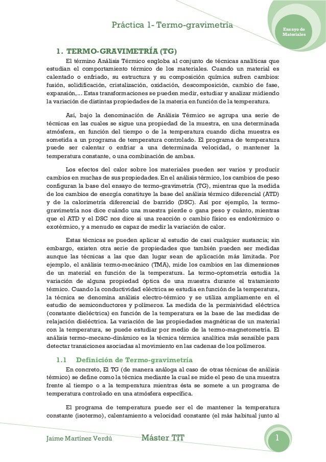 Práctica 1- Termo-gravimetría                                   Ensayo de                                                 ...