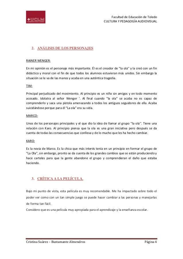 Facultad de Educación de Toledo CULTURA Y PEDAGOGÍA AUDIOVISUAL  2. ANÁLISIS DE LOS PERSONAJES RAINER WENGER: En mi opinió...