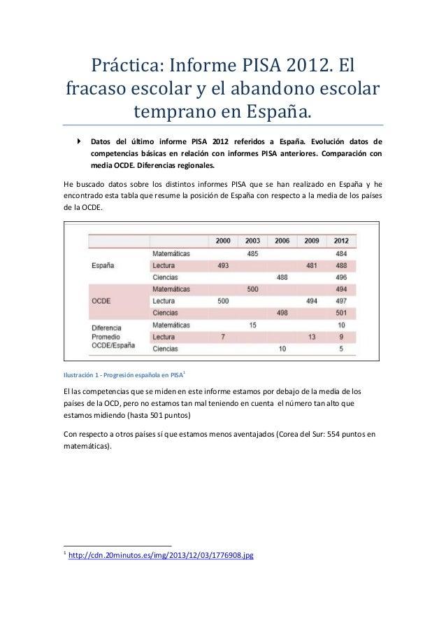 Prácticá: Informe PISA 2012. El frácáso escolár y el ábándono escolár tempráno en Espáná.  Datos del último informe PISA ...