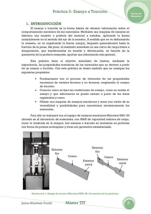 Práctica 3- Ensayo a Tracción                                     Ensayo de                                               ...