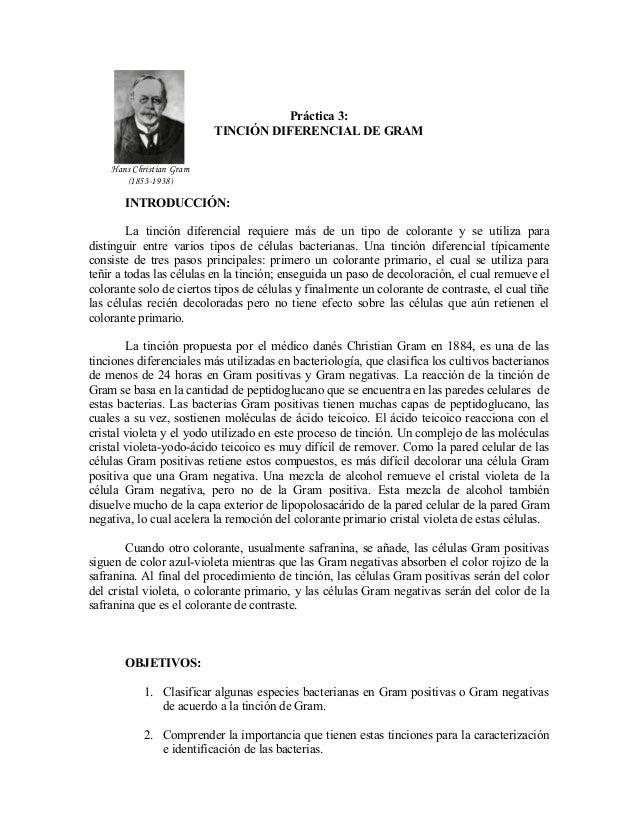 Práctica 3:                          TINCIÓN DIFERENCIAL DE GRAM    Hans Christian Gram       (1853-1938)       INTRODUCCI...