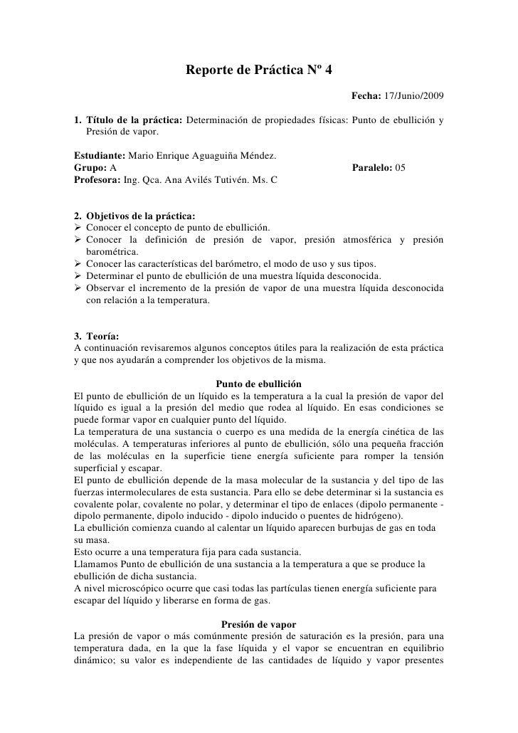 Reporte de Práctica Nº 4<br />Fecha: 17/Junio/2009<br />Título de la práctica: Determinación de propiedades físicas: Punto...