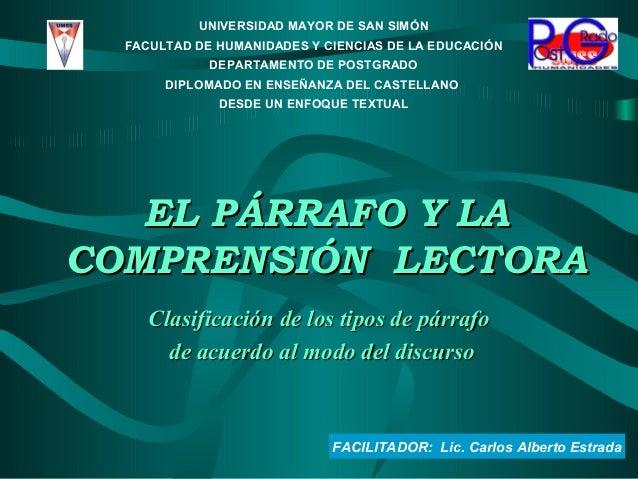 FACILITADOR: Lic. Carlos Alberto Estrada UNIVERSIDAD MAYOR DE SAN SIMÓN FACULTAD DE HUMANIDADES Y CIENCIAS DE LA EDUCACIÓN...