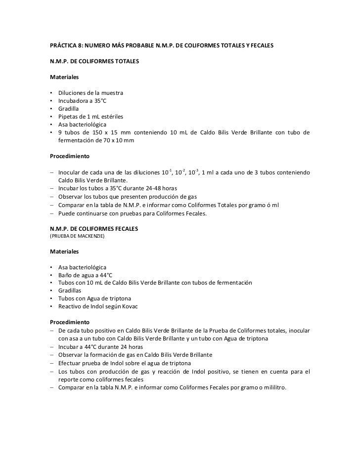 PRÁCTICA 8: NUMERO MÁS PROBABLE N.M.P. DE COLIFORMES TOTALES Y FECALESN.M.P. DE COLIFORMES TOTALESMateriales•   Diluciones...