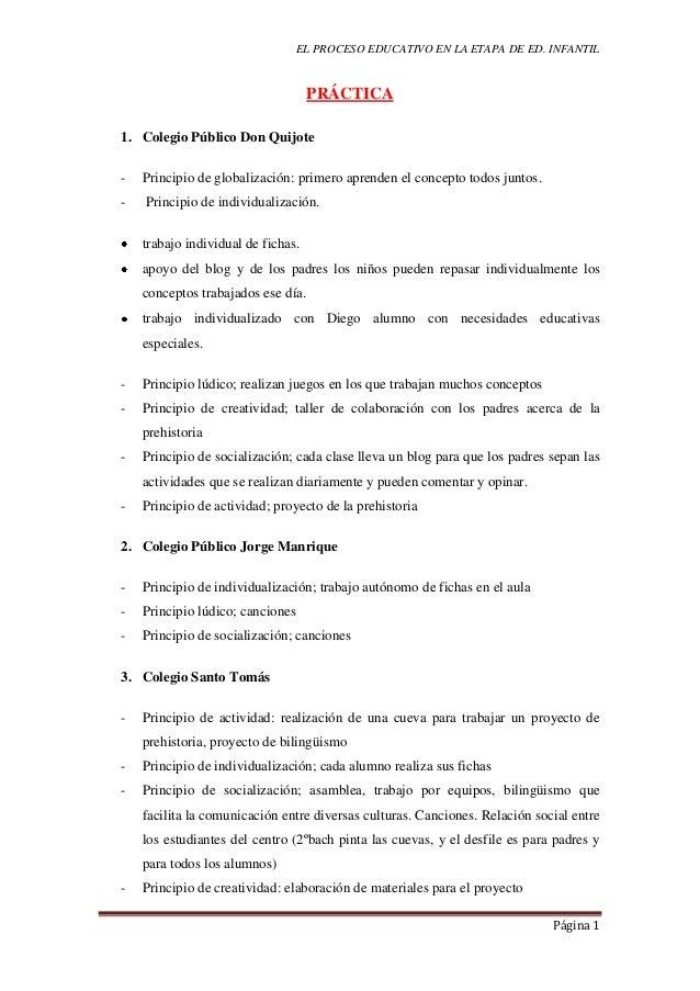 EL PROCESO EDUCATIVO EN LA ETAPA DE ED. INFANTILPágina 1PRÁCTICA1. Colegio Público Don Quijote- Principio de globalización...