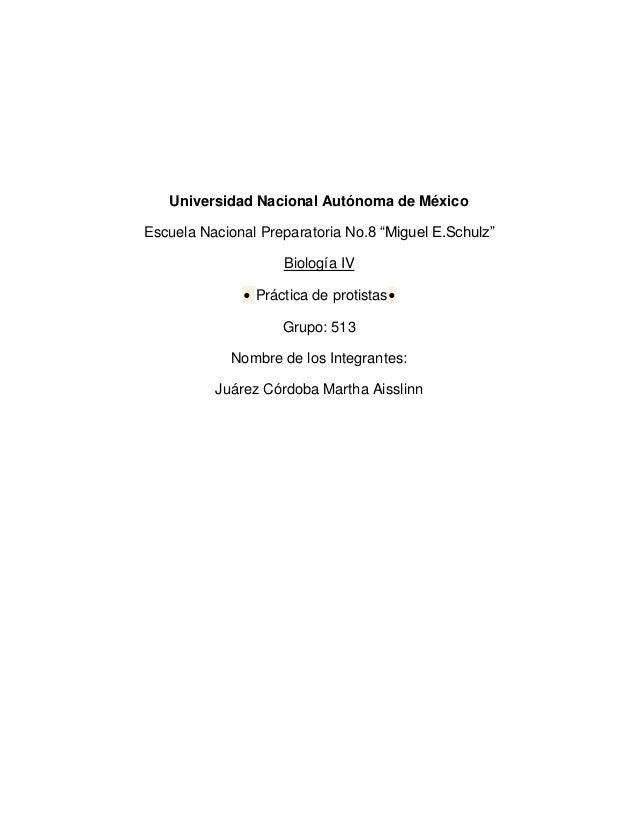 """Universidad Nacional Autónoma de México Escuela Nacional Preparatoria No.8 """"Miguel E.Schulz"""" Biología IV • Práctica de pro..."""