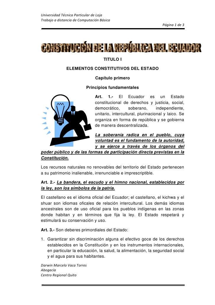 TITULO I<br />ELEMENTOS CONSTITUTIVOS DEL ESTADO<br />Capítulo primero<br />Principios fundamentales<br />152407620Art. 1....