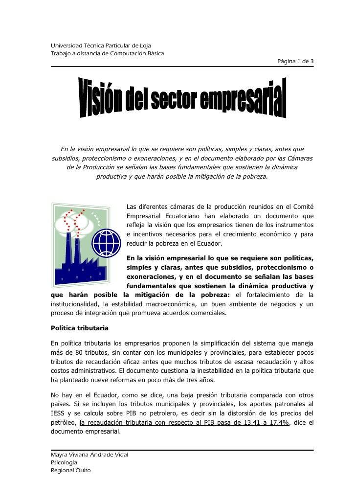 Universidad Técnica Particular de Loja Trabajo a distancia de Computación Básica Página 1 de 3 En la visión empresarial lo...