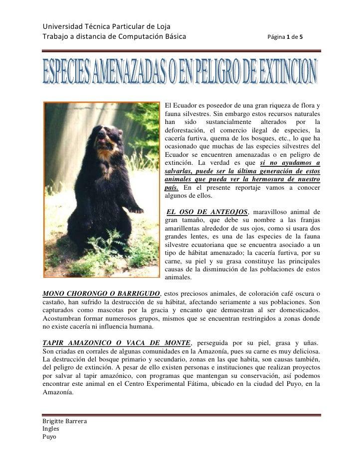 19050354330<br />El Ecuador es poseedor de una gran riqueza de flora y fauna silvestres. Sin embargo estos recursos natura...