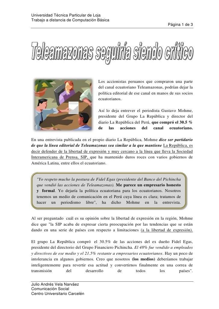 left1179195<br />Los accionistas peruanos que compraron una parte del canal ecuatoriano Teleamazonas, podrían dejar la pol...