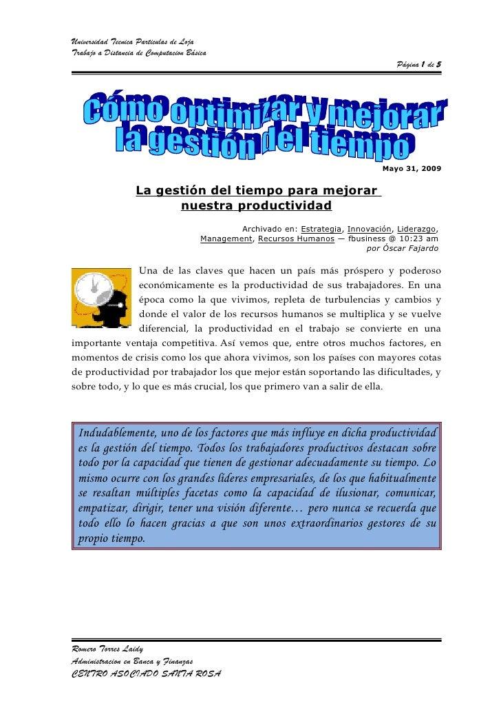 Universidad Tecnica Particulas de LojaTrabajo a Distancia de Computacion Básica                                           ...