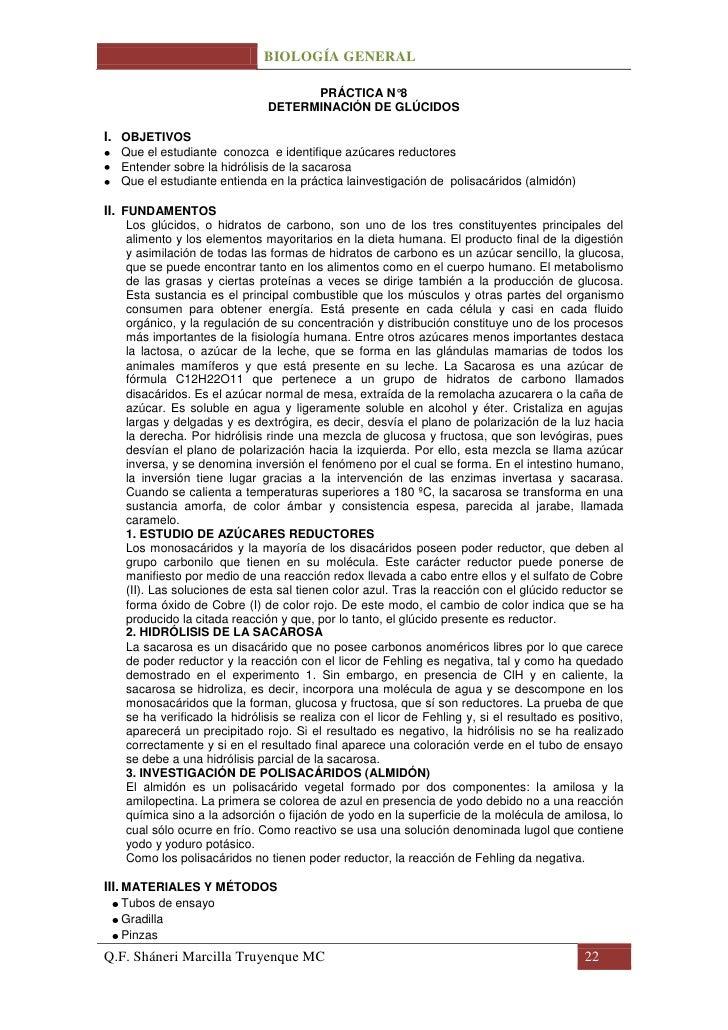 BIOLOGÍA GENERAL                                    PRÁCTICA N°8                              DETERMINACIÓN DE GLÚCIDOSI. ...