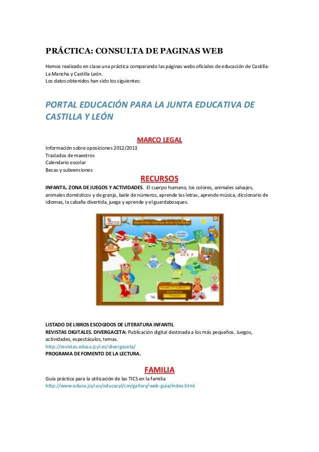 Calendario Educacyl.Practica Paginas Web