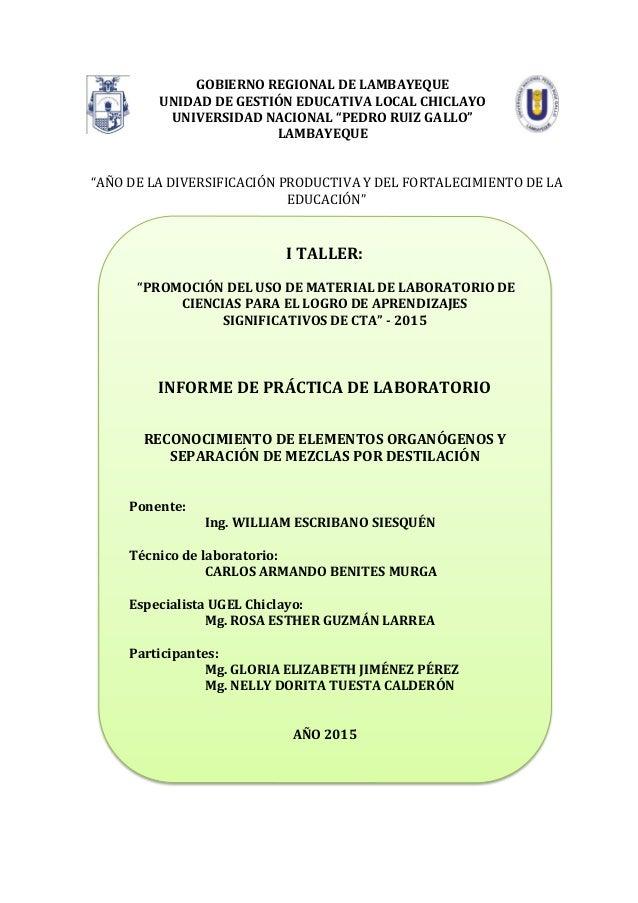 RECONOCIMIENTO DE ELEMENTOS ORGANÓGENOS Y SEPARACIÓN DE MEZCLAS POR D…
