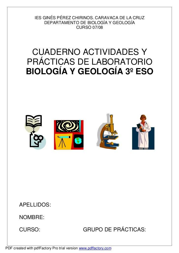 IES GINÉS PÉREZ CHIRINOS. CARAVACA DE LA CRUZ                      DEPARTAMENTO DE BIOLOGÍA Y GEOLOGÍA                    ...