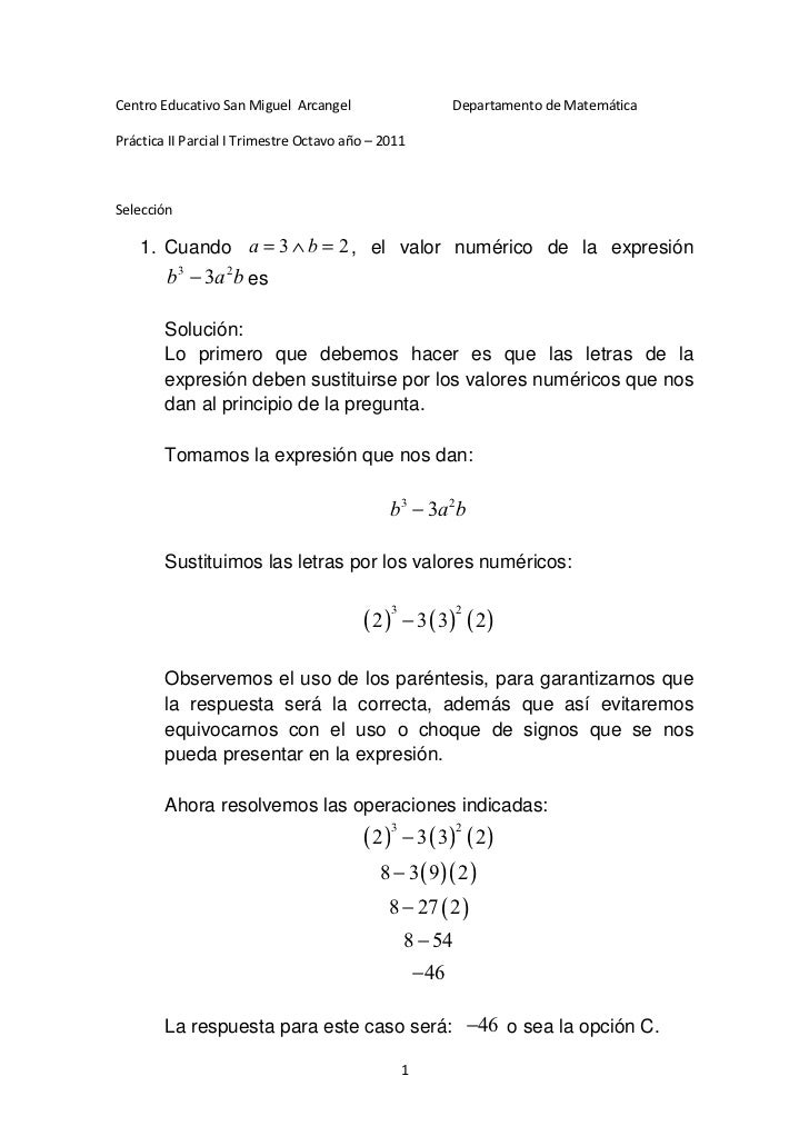 Centro Educativo San Miguel Arcangel                          Departamento de MatemáticaPráctica II Parcial I Trimestre Oc...
