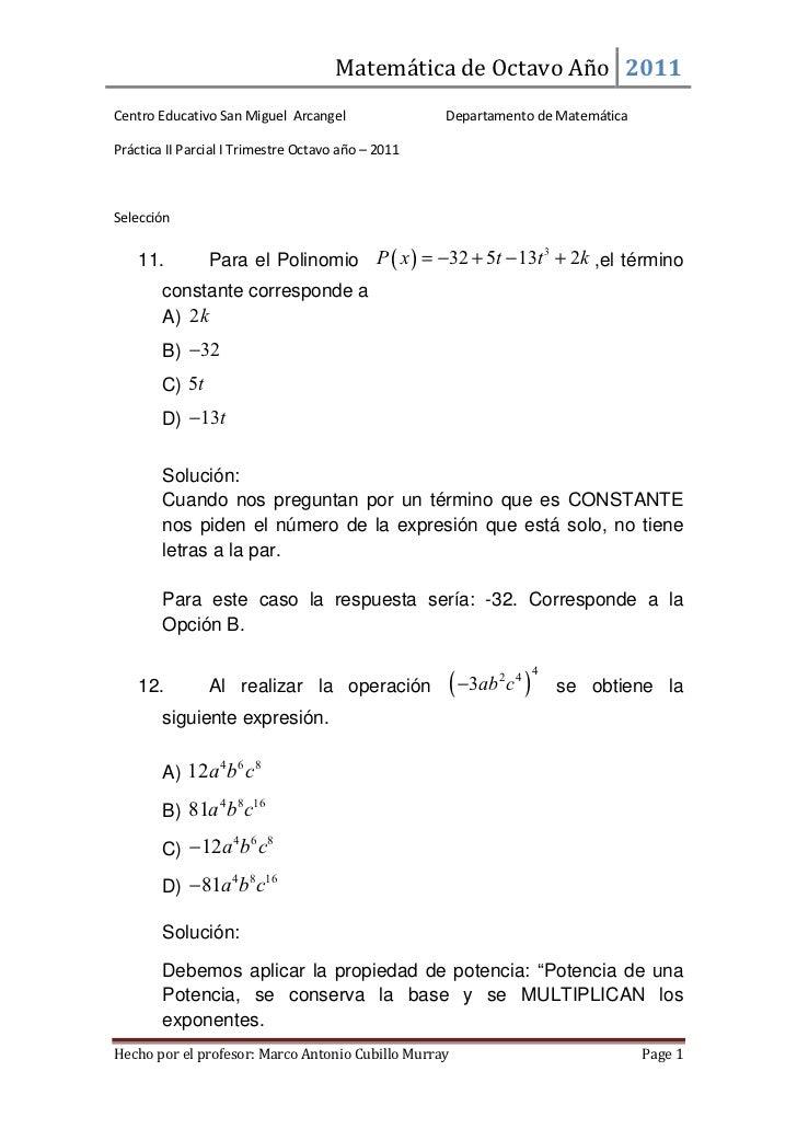 Matemática de Octavo Año 2011Centro Educativo San Miguel Arcangel                Departamento de MatemáticaPráctica II Par...