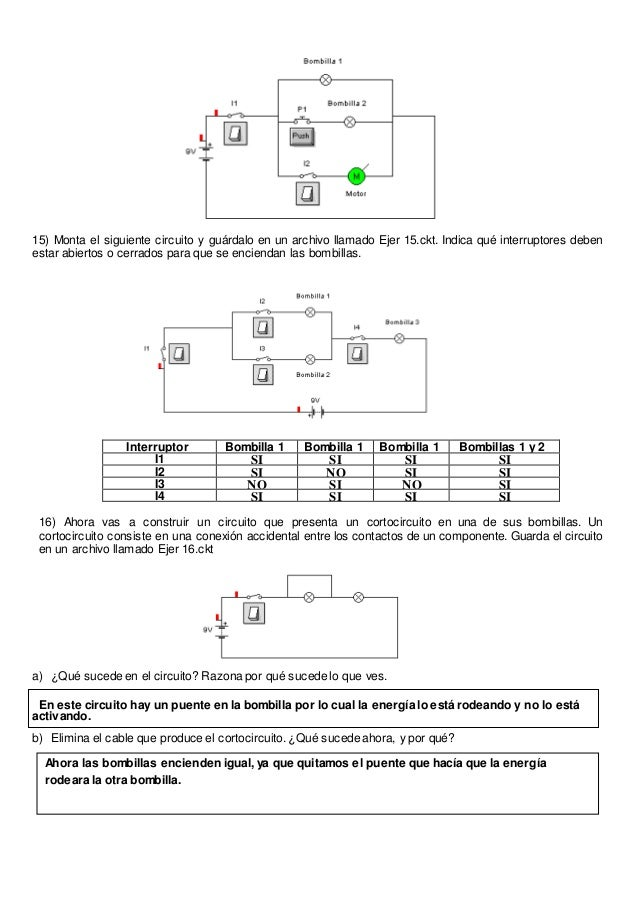 Circuito Que Tenga Un Interruptor Una Pila Y Una Bombilla : Prácticas con crocodile clips resuelto