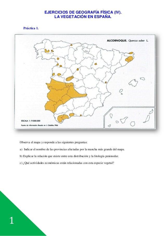1 EJERCICIOS DE GEOGRAFÍA FÍSICA (IV). LA VEGETACIÓN EN ESPAÑA. Práctica 1. Observa el mapa y responde a las siguientes pr...