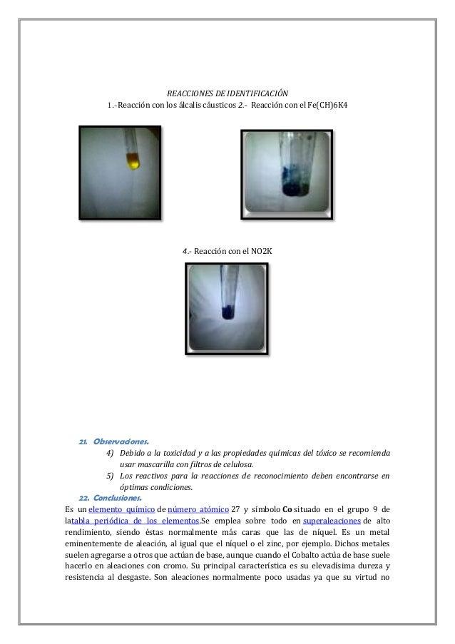 REACCIONES DE IDENTIFICACIÓN 1.-Reacción con los álcalis cáusticos 2.- Reacción con el Fe(CH)6K4  4.- Reacción con el NO2K...