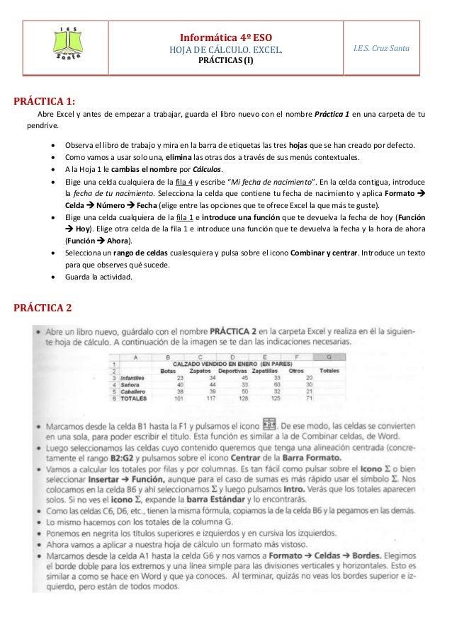 PRÁCTICA 1: Abre Excel y antes de empezar a trabajar, guarda el libro nuevo con el nombre Práctica 1 en una carpeta de tu ...