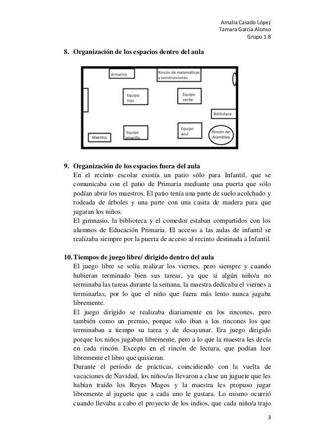 Amalia Casado LópezTamara García AlonsoGrupo 1.838. Organización de los espacios dentro del aula9. Organización de los esp...