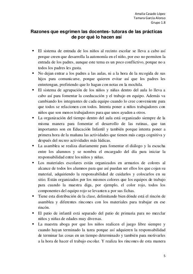 Amalia Casado LópezTamara García AlonsoGrupo 1.85Razones que esgrimen las docentes- tutoras de las prácticasde por qué lo ...