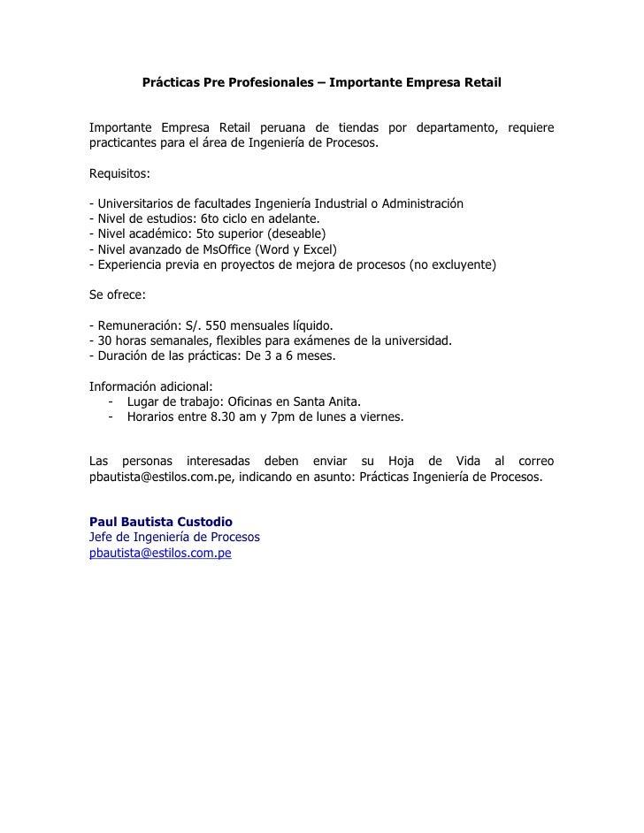 Prácticas Pre Profesionales – Importante Empresa Retail<br />Importante Empresa Retail peruana de tiendas por departamento...