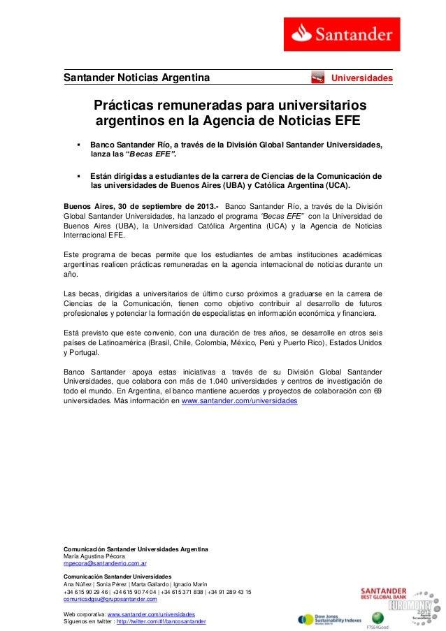 Comunicación Santander Universidades Argentina María Agustina Pécora mpecora@santanderrio.com.ar Comunicación Santander Un...