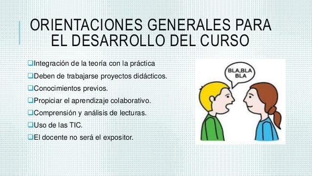 ORIENTACIONES GENERALES PARA EL DESARROLLO DEL CURSO Integración de la teoría con la práctica Deben de trabajarse proyec...