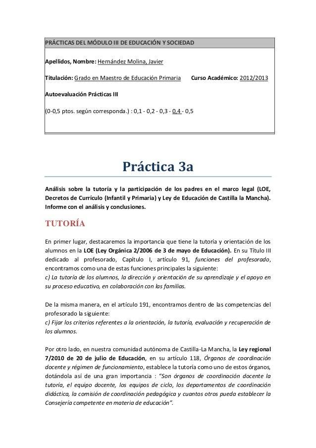 PRÁCTICAS DEL MÓDULO III DE EDUCACIÓN Y SOCIEDADApellidos, Nombre: Hernández Molina, JavierTitulación: Grado en Maestro de...