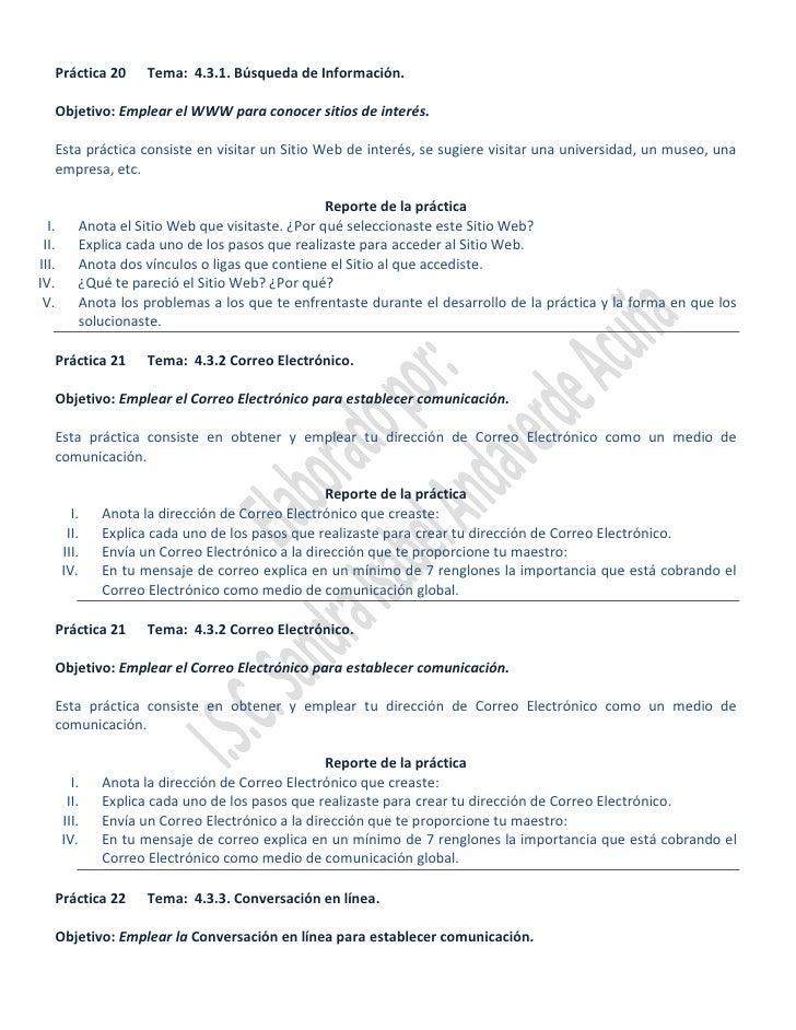 Práctica 20      Tema: 4.3.1. Búsqueda de Información.     Objetivo: Emplear el WWW para conocer sitios de interés.     Es...